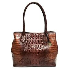 BRAHMIN Medium Julian Brown Croc Embossed Leather Satchel Handbag Tote Purse