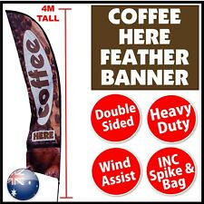 Feather Banner Coffee Flag Instant Exposure 4m tall * machine cafe restaurant