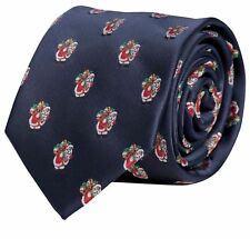 Krawatte Weihnachten 8cm Fabio Farini blau Struktur mit Weihnachtsmann X-Mas