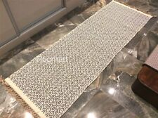 Med. GREY CREAM DIAMOND Geometric Cotton REVERSIBLE Washable RUG RUNNER 70x200cm