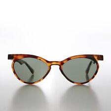 Tortoise Round Winged Unique Vintage Cat Eye Sunglass Green Lens - Emily