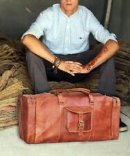 Leather handmade travel luggage vintage overnight weekend duffel Gym Bag