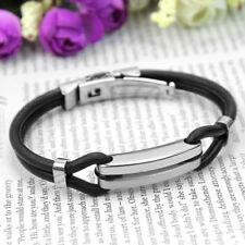 Men Women Cool Stainless Steel Black Rubber Wrist Bands Bracelet Bangle Jewelry