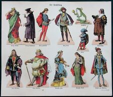 """Der Froschkönig"" antique German epinal print paper dolls ""The Frog King"""