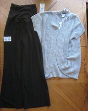 NEW Size Large Black Slacks & Grey Sweater Maternity clothes LOT $114 retail L