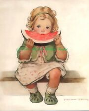 Adorable Little Girl Eating Watermelon Vintage Repro Fabric Block 5x7