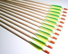 "12 New Shiny Black® Econ 28"" Wood (Fir) Target Practice Arrows S.S. Bullet Tips"