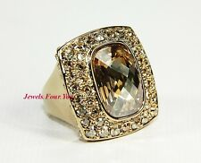 JUDITH LEIBER CABOCHON GOLD PLATED RING LARGE SWAROVSKI AMBER & CLEAR NEW SZ 7,5