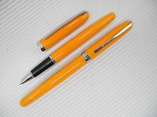 2PCS New JINHAO Fountain Pen Fine Orange Yellow free 5 cartridges black ink