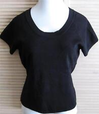 COLDWATER CREEK Size XL New With Tags Scoop Neck Front & Back Black Cap Slev Top