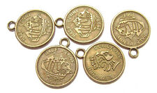 "4489FD Charm Drop Coin Antiqued Brass ptd ""Pewter"" Elizabeth II, Ship, 10 Qty"