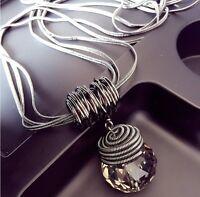 Women's Round Jewelry Chain Pendant Crystal Choker Chunky Statement Bib Necklace