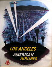 ORIGINAL 1948 Vintage Travel Poster AMERICAN AIRLINES Hollywood Bowl LOS ANGELES
