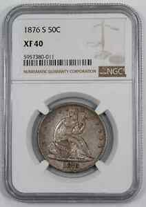 1876 S SEATED LIBERTY HALF DOLLAR 50C NGC CERTIFIED XF 40 EXTRA FINE (011)
