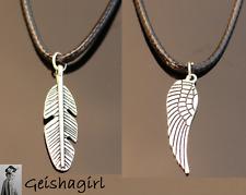 Tibetan Silver Black Cord Angel Wing Feather Pendant Choker NecklaceUK Seller