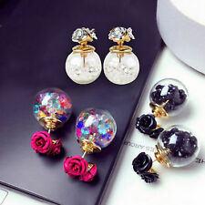 Korean Fashion Women's Double Sides Flower Crystal Ball Ear Stud Earrings Gifts