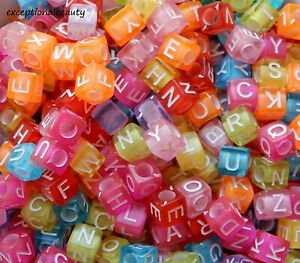 200 Assorted Mix White Letters ABC Alphabet 5mm Square Cube Acrylic Craft Beads