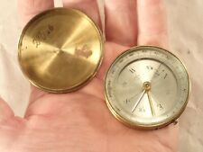 "Vintage French Gentleman's Lidded Gilt Brass Pocket Compass, 2"" Diameter"
