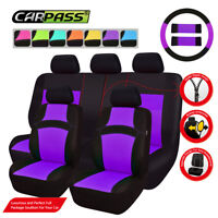 Universal Car Seat Covers Purple Black Steering Wheel Cover For SUV Sedan Van