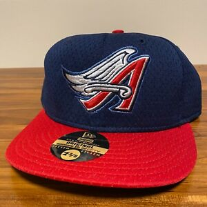 California Angels Hat Baseball Cap Fitted 7 3/8 New Era Blue Mesh BP Vintage MLB