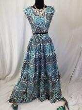 """Women African Ankara Full Maxi Skirt n Crop Top 2pcs Sleeveles Size 16 Waist 40"""""""