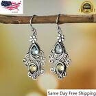 Fashion Boho Drop Earrings Women 925 Silver Plated Jewelry Green Tourmaline