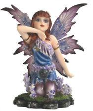 Kneeling Purple Fairy With Crystal Ball Figurine