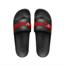 5c154650e MOSCHINO MTV HM H M LEATHER SLIDES SANDALS SLIPPER SANDALEN 41 42 41 42  Slider