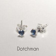 925 Sterling Silver 2.5MM Sapphire Blue Stud Earrings