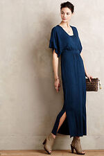 New Anthropologie Morgane Kimono Maxi Dress Blue Jersey Long Summer Career Sz S