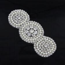 1x Crystal Beaded Rhinestone Applique Sewing Craft for Wedding Dress Belt Sash