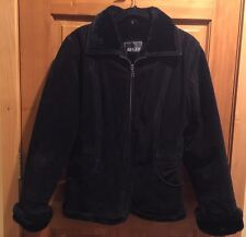 Alder Collection Black Leather Faux Fur Lining Womens Sz Small