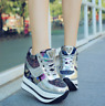 Womens Sport Sneakers Wdge Hidden Heel Platform Creepers Casual Shoes Lace Up