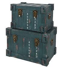 2 teiliges Set Container Industrie Design Kommode Schrank Truhe Box Kiste Grün