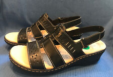 NEW Clarks Collection Lexi Qwin Black Leather Cut Out Slingback Sandals Sz 8 M