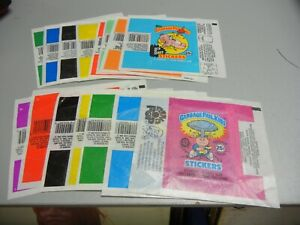 1985 -88  original Garbage Pail Kids Series 1-15 Empty Wrappers  unfolded flat