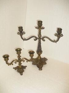 Messing Leuchter Kerzenleuchter Kerzenhalter Antik Stil Tischleuchter 3.flammig