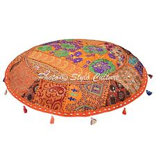 Bohemian Vintage Round Patchwork Floor Pillow Cover Embroidered Cotton 40x40
