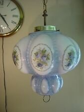 Vintage Pretty Mid Century Modern Blue Rose Pleated Glass Swag Lamp