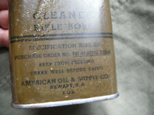 WW2 ORIGINAL U.S. ISSUE RIFLE BORE CLEANER CAN 6-OUNCE 1943 DATED