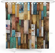Colorful Rainbow Wood Country Western Rustic Farmhouse Fabric Shower Curtain