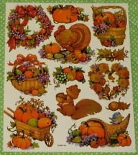 VINTAGE AMERICAN GREETINGS THANKSGIVING~TURKEY~AUTUMN~FALL STICKERS SHEET