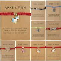 Adjustable Make A Wish Horse Bangle Bracelet Paper Card String Weave Charm Tag