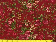 Red Roses w/ Red & White Flowers on Red Quilting & Sewing Fabric by Yard  #244