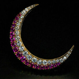 Antique 1.20 Ct Round Cut Ruby Crescent Moon Brooch Pin 14k Yellow Gold Over