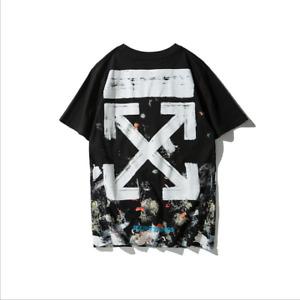 T-shirt casual moda manica corta in puro cotone con cielo stellato OFF WHITE