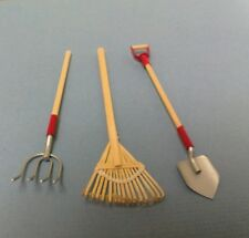 Dollhouse Miniature 1:12 Garden tools, bamboo leaf rake, pitch fork & shovel