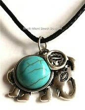 Silver Turquoise Stone Tribal Elephant Boho Necklace Plated Luck Charm USA