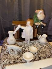 Rare Antique 5� All Bisque German Doll Display Fireplace, Rug, Mini Santa 🤩