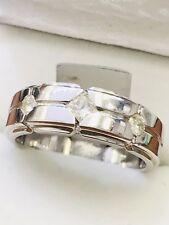 14k Solid White gold men's diamond ring  3 stone princess cut